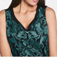 Šifónové vyšívané šaty, čierno-zelené #6