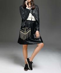 Skvelá imitácia koženej sukne, čierna