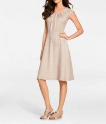 Strečové šaty, pieskovo-biele