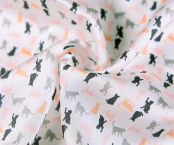 Štvorcová šatka s mačacím vzorom, farebná