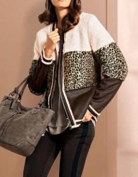 Štýlová kožušinová bunda, hnedo - smotanová