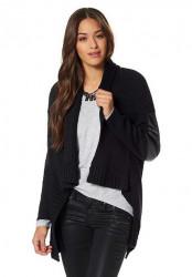 Štýlový sveter s imitáciou kože AJC #1