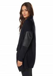 Štýlový sveter s imitáciou kože AJC #2
