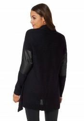 Štýlový sveter s imitáciou kože AJC #3