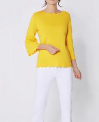 Sveter z hodvábnej bavlny, žltá