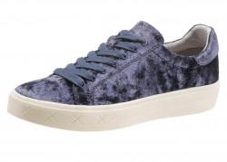Tamaris zamatové šnurovacie topánky, modrá