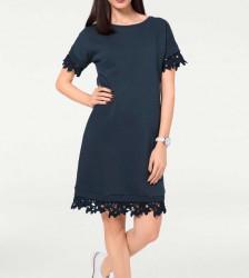 Teplákové šaty s čipkou Heine, modrá