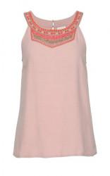 Top s perlovou výšivkou VILA Clothes, ružová