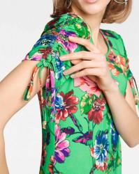 Tričko plné kvetov Rick Cardona, zelená