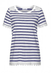 Tričko s čipkou ANISTON, modro-biela
