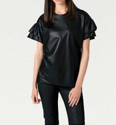Tričko z imitácie kože, čierna