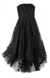 Večerné šaty vyšívané s tylovou sukňou, čierne