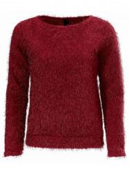 Vínovo-červený plyšový sveter