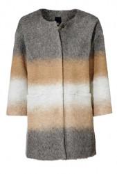 Vlnený flaušový kabát, sivo-karamelový