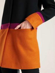 Vlnený kabát HEINE, čierno-oranžovo-ružová