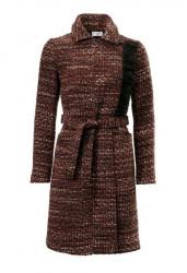 Vlnený kabát so strapcami, hnedo-pestrý