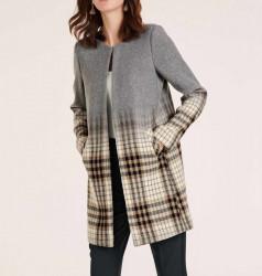 Vlnený karovaný kabátik, sivo-farebný