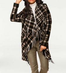 Vlnený pončo kabát so strapcami, hnedo-čierna