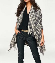 Vlnený pončo kabát so strapcami, sivo-kremova