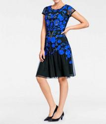 Vyšívané spoločenské šaty Ashley Brooke. čierno-modrá #1