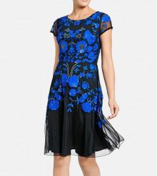 Vyšívané spoločenské šaty Ashley Brooke. čierno-modrá #2