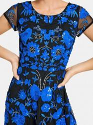 Vyšívané spoločenské šaty Ashley Brooke. čierno-modrá #4