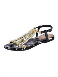 XYXYX sandále s perlami, čierna