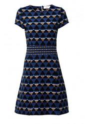 Žakarové šaty modrej farby , PATRIZIA DINI