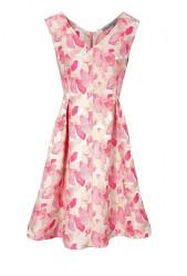 Žakarové šaty s kvetinovým vzorom, krémovo-ružové