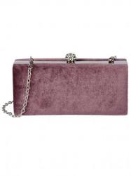 Zamatová Clutch kabelka, staro-ružová #1