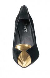 Zamatové lodičky Heine, čierno - zlatá #4