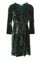 Zamatové šaty s opaskom HEINE, olivová