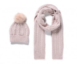 Zimný set z pleteného šálu a čiapky - ružová