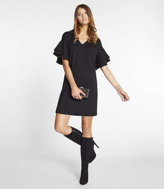 7487f1798476 Čierne šaty s volánmi APART - Spoločenské šaty - Locca.sk