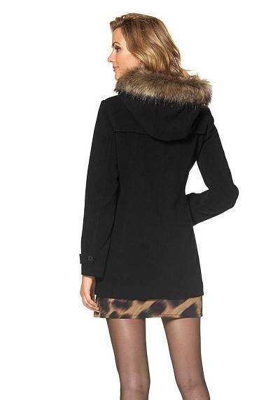 Čierny vlnený kabát s kapucňou Marc New York - Dámske flaušové ... b27bc033042