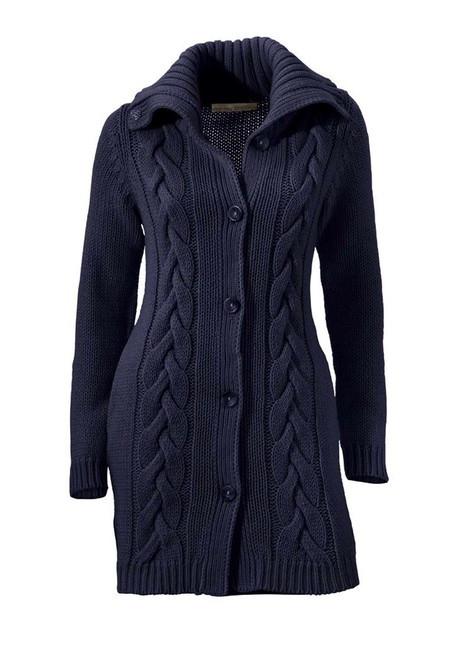 Dlhý pletený sveter s osmičkami, modrý