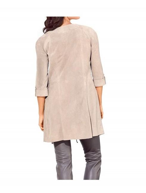 Elegantný semišový kabát na zaviazanie Patrizia Dini - Dámske kabáty ... 07801b5f8c8