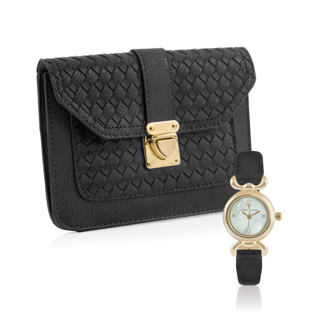 Hodinky + kabelka Temptation, čierno-zlatá