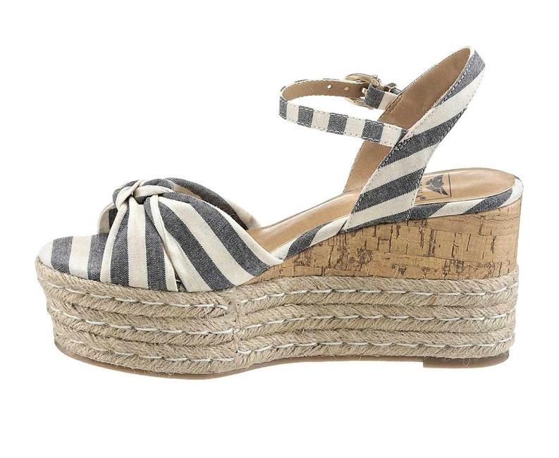 Klinové sandále Arizona, modro pruhované