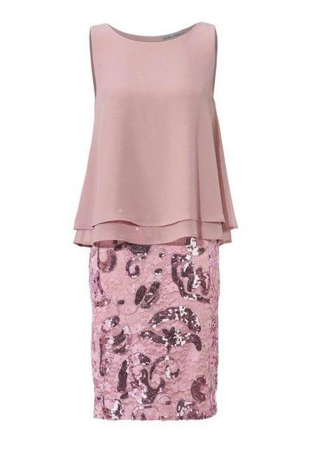 Koktejlové šaty s flitrami, ruža
