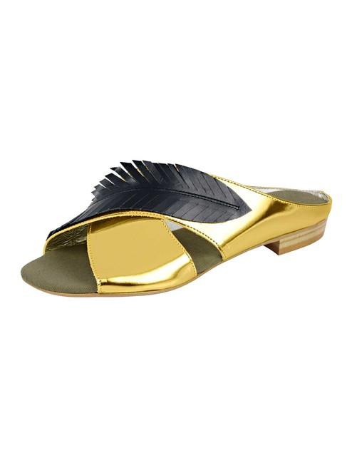 Kožené šľapky Heine, zlato-čierna