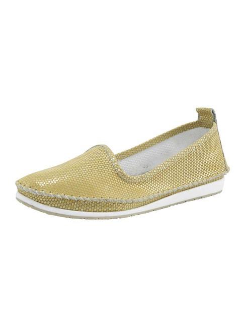 Kožené slippery v metalickom vzhľade Heine, žltá