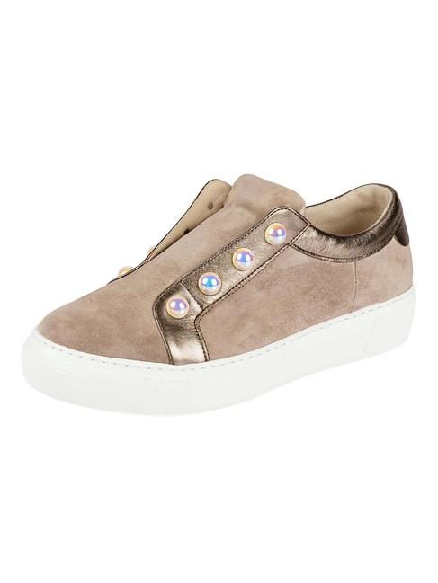 Kožené topánky GABOR s perlami, sivobéžová