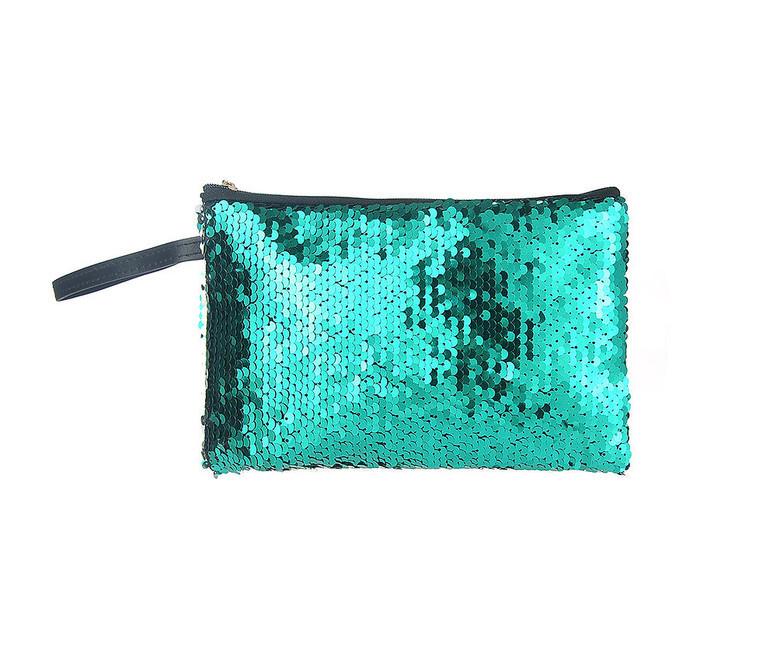 Kozmetická taštička flitrovaná, zelená