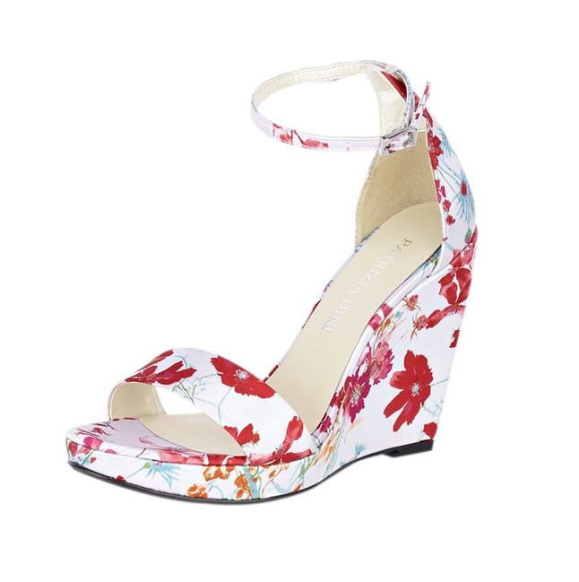 Kvetinové sandále na platforme