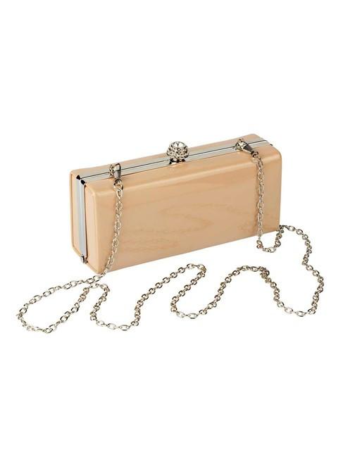 Lakovaná Clutch kabelka, púdrová