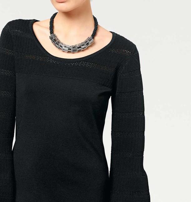 d98631711553 Pletené šaty s ažúrovým vzorom