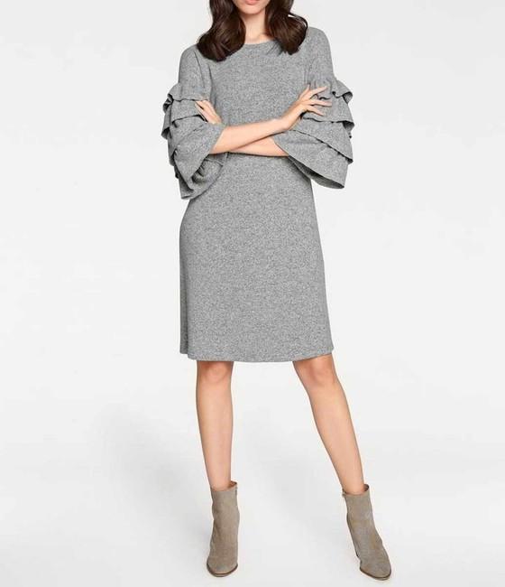 Pletené šaty s volánmi Rick Cardona, sivá