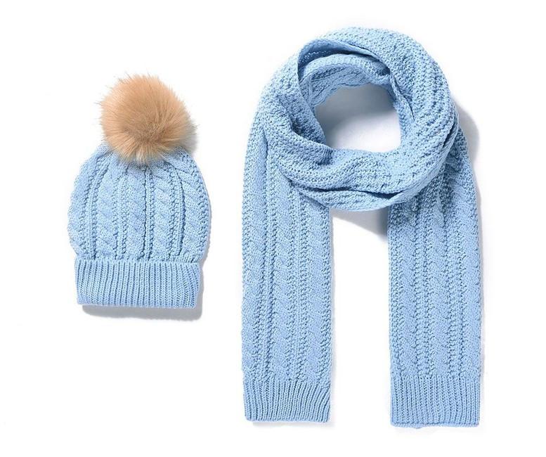 34d4a01b5 Pletený detský šál a čiapka - modra - Detské čiapky a šály - Locca.sk