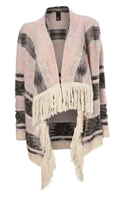 Pončo sveter ružovo-krémový